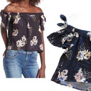 [ASTR] Tie Detail Off The Shoulder Floral Blouse